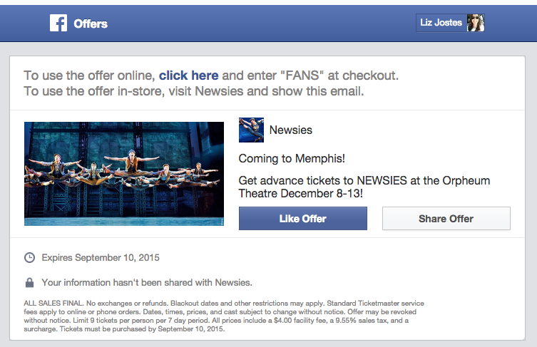 Receiving Facebook Offer in Email