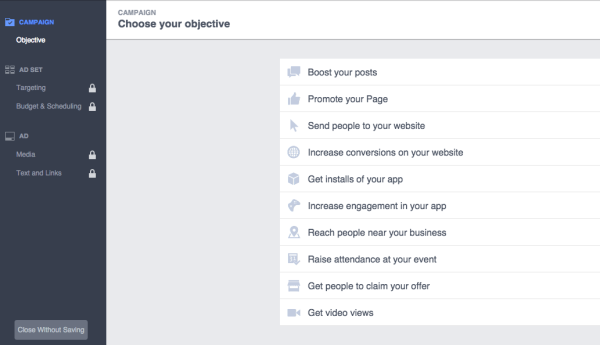 New Facebook Ads Manager Setting Ad Objective