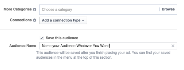 Save Audience in Facebook Ads Manager