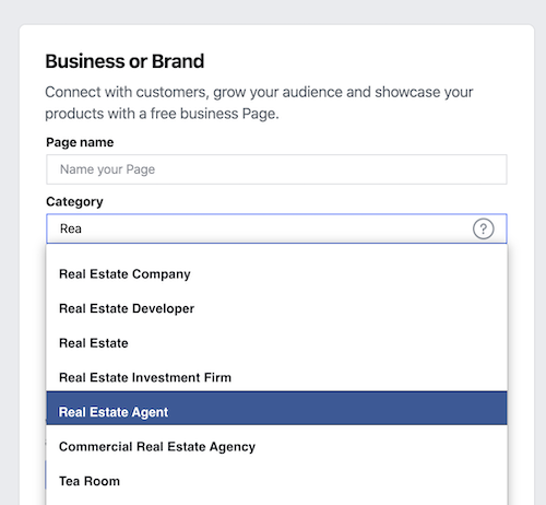 Add Business Name and Page Category