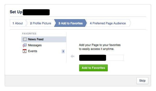 Add New Facebook Page to Favorites