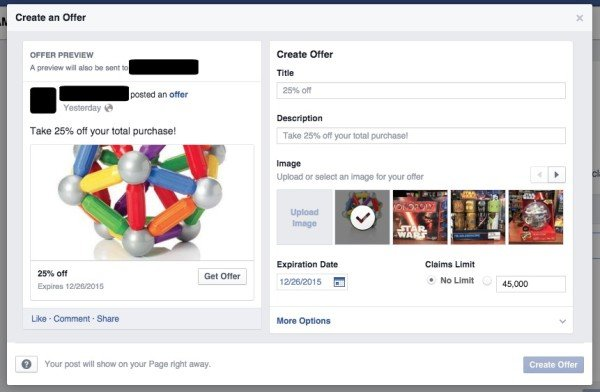 Design your Facebook Offer