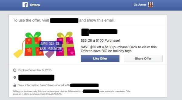 Facebook Offer Email Preview