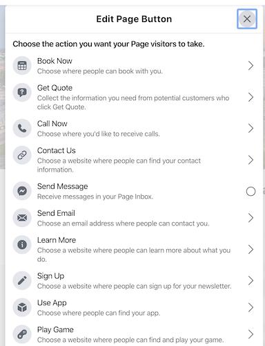 Facebook call to action button choices