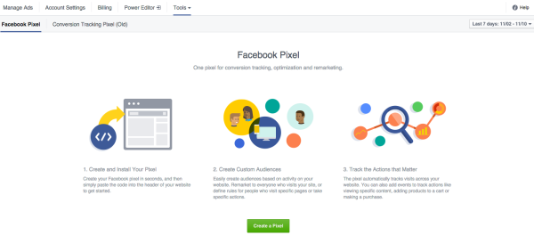 Create your Facebook Pixel