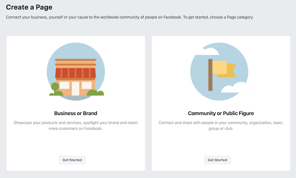 Select Facebook Business Page type