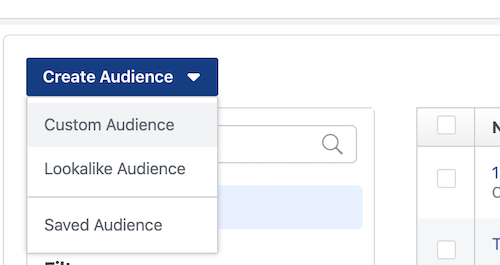 Click to create a new Facebook audience