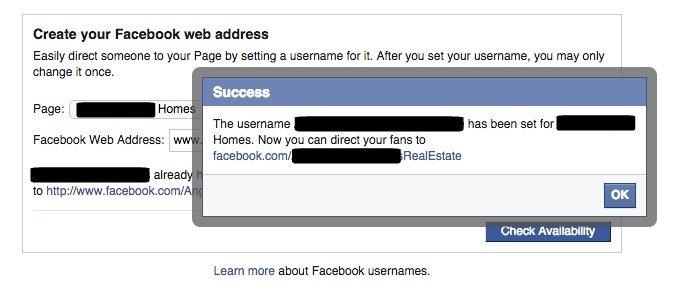 Confirm New Facebook Web Address