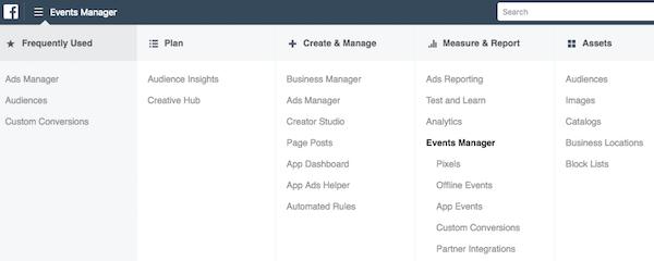 Facebook Ads Manager menu