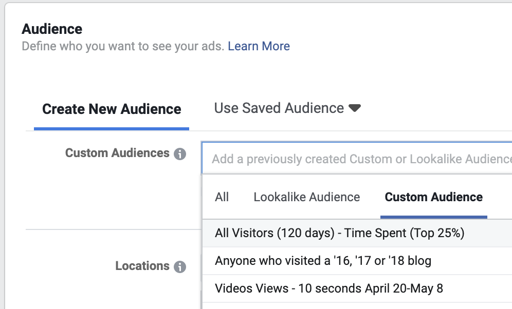 Choose a custom audience when building a Facebook ad