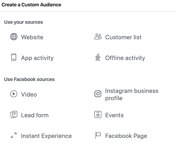 Select which type of custom audience you want to create