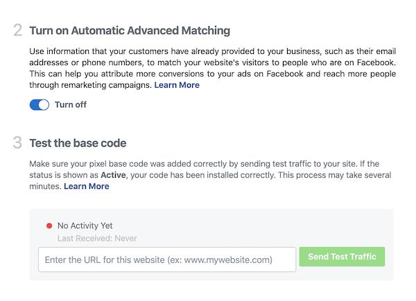 Send test traffic to test Facebook pixel