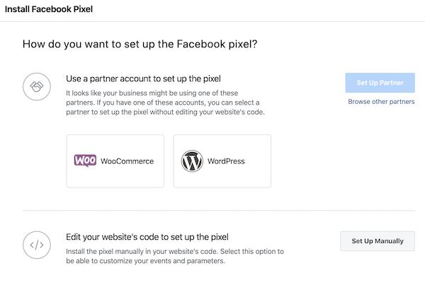 choose how to set up facebook pixel