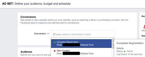 Choose Facebook Conversion Pixel when building Facebook Ads