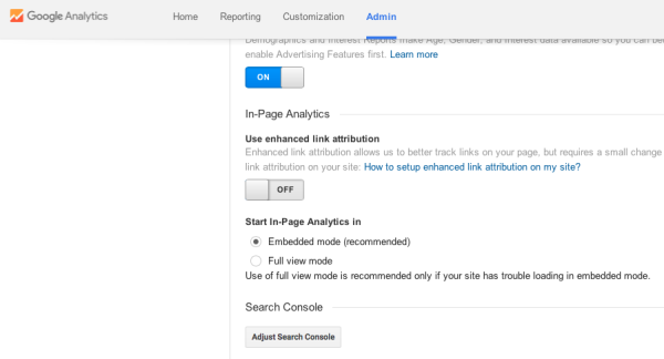 Adjust Google Search Console