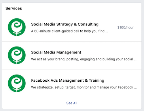 Published list of Facebook Services