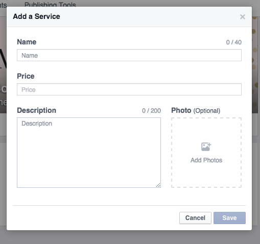 Add a Service to your Facebook Page