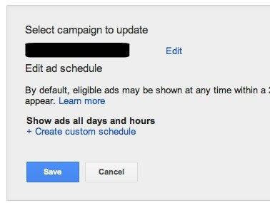Create Custom AdWords Schedule