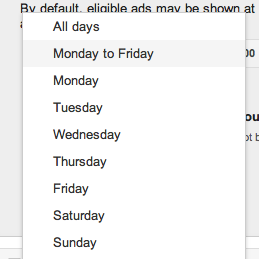 Choose days of the week to show AdWords