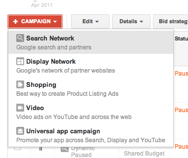 Choose Network for Google AdWords campaign