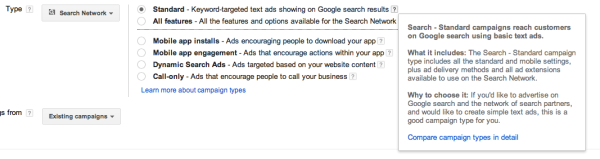 Choose AdWords Campaign type