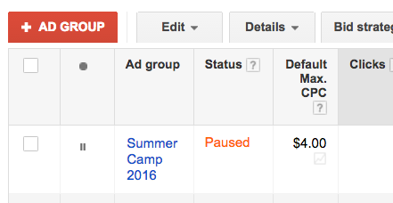 Paused Google AdWords ad group