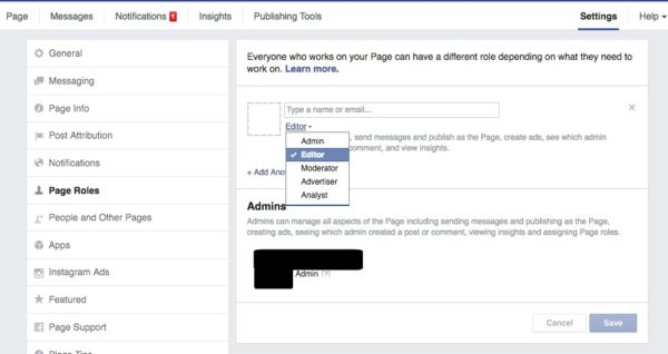 Add Admin to New Facebook Page