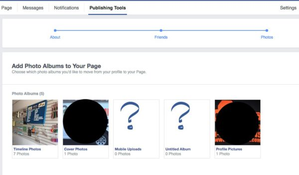 Choose Photo Albums to Migrate to Facebook Page
