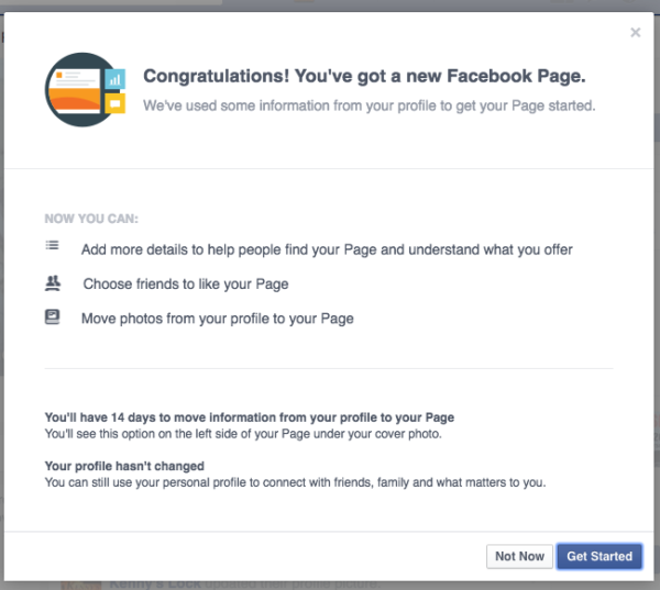 Begin process of converting Facebook Profile to a Page