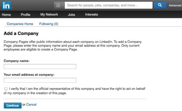 Add a Company LinkedIn