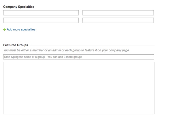 Add Company Specialities and Groups to LinkedIn Company Page