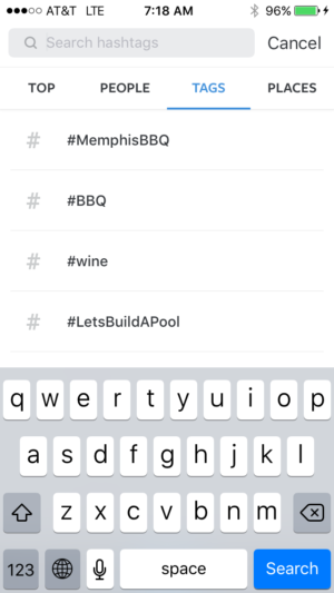 Recently used hashtags