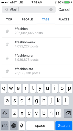 Hashtag autopopulate in Instagram search