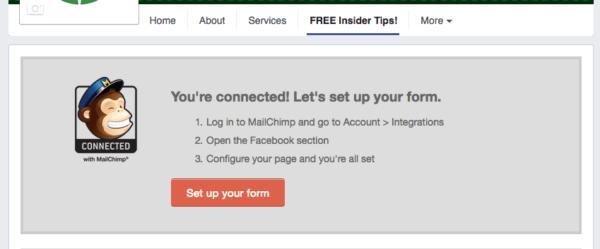 Authorize MailChimp app on Facebook Page