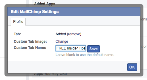 Edit MailChimp App Settings on your Facebook Page