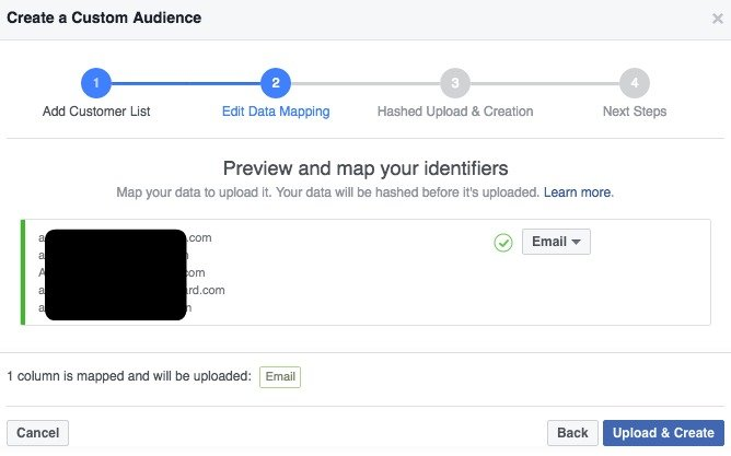 Facebook Custom Audience Map Identifiers