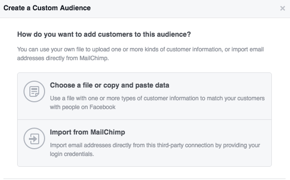 Customer Email List Facebook Ads Manager Choose File Type