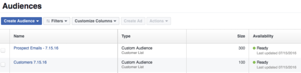Email prospect customer list Facebook audience