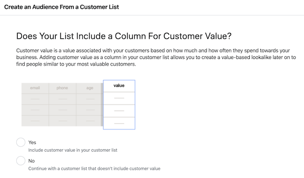 Set customer value for facebook custom audience email list