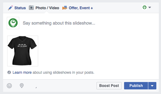 Publish Facebook slideshow