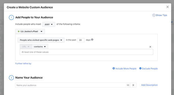 Select specific website pages for your Facebook custom audience