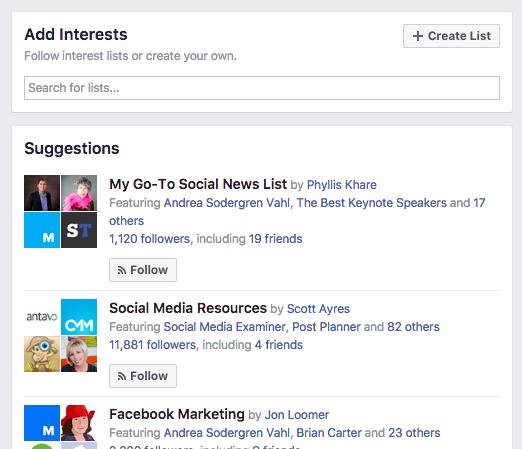 Create a new Facebook interest list