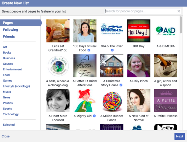 Choose Facebook Pages to add to your Interest list
