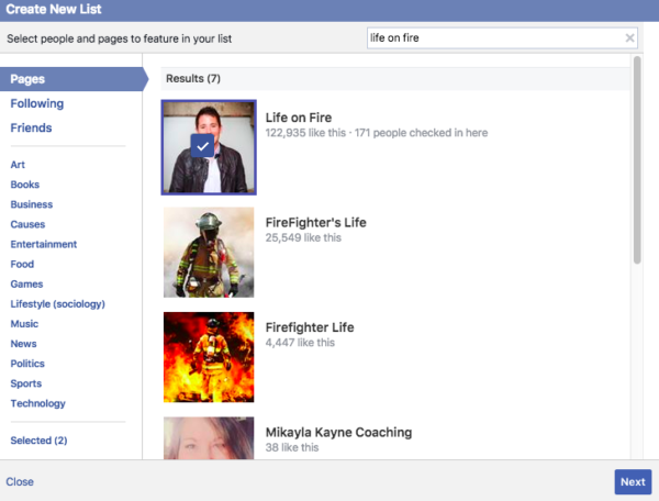 Search for Facebook Pages to add to your Interest list
