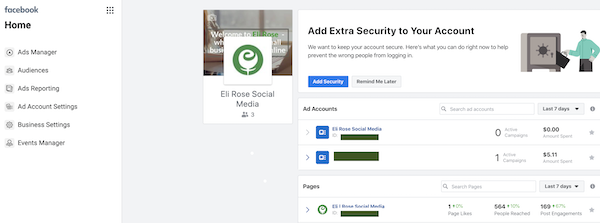 Manage Facebook Page in Business Manager