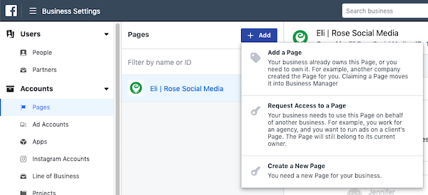 Request Access to Facebook Page in Business Manager