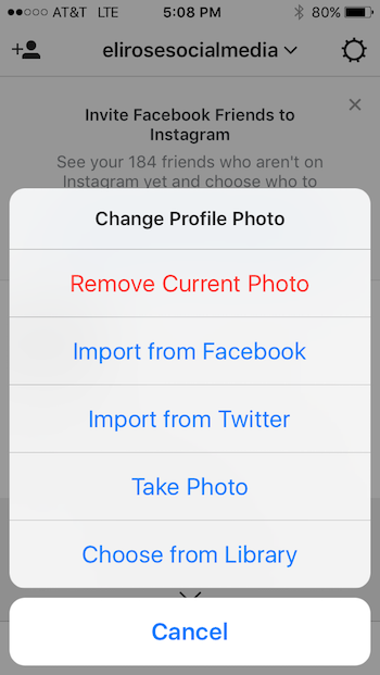 Upload Instagram Profile Photo
