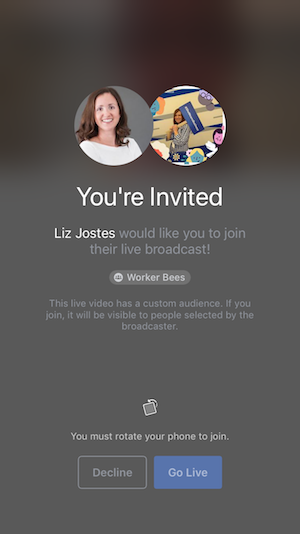 Guest Invite for Facebook Live on iPhone