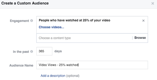 Choose number of days included in video views audience