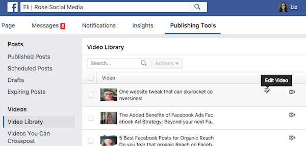 How to edit a published Facebook video